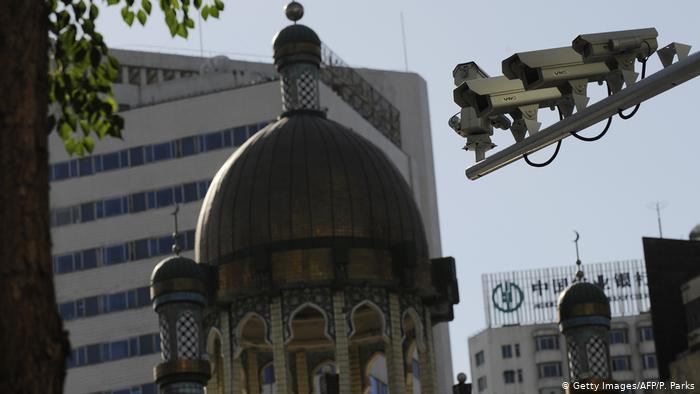 In Urumqi, facial recognition is carried out with high-tech surveillance cameras.