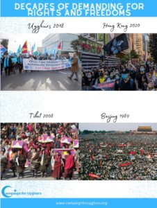 Hong Kong suffers similarly, as millions of Uyghurs are in concentration camps, as Tibetans are denied their rights.Protestors from different times.