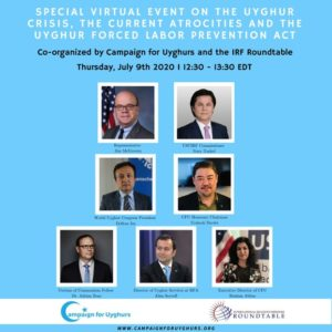 The speakers for the joint event by IRF Roundtable and Campaign for Uyghurs